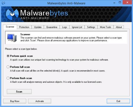 Окно программы Malwarebytes Anti-Malware PRO