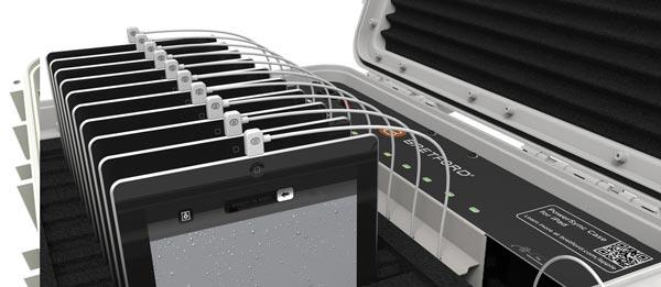 Bretford PowerSync Roller 20 for iPad mini позволяет хранить, заряжать и транспортировать сразу 20 мобильных устройств Apple с разъемами Lightning