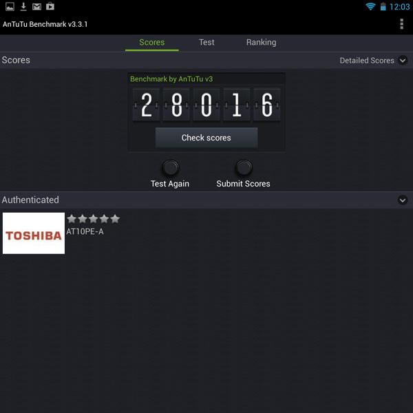 ����� �������� Toshiba Excite Write ���� ������������� � ������������������ ��������� Nvidia Tegra 4