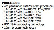 Процессоры Intel Core i3-4100E, i3-4102E, i5-4400E и i5-4402E упомянуты в описании изделий DFI и EKF