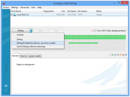 Рабочее окно Auslogics Disk Defrag