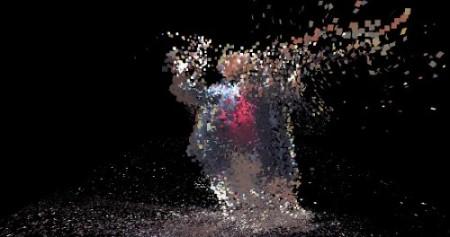 Оцифрованный зритель в ореоле собственных отброшенных атомов