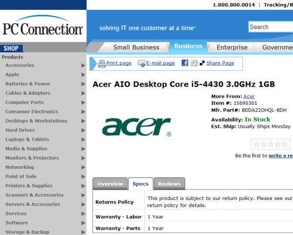 Основой моноблочного компьютера Acer с ОС Android служит процессор TI OMAP 4430