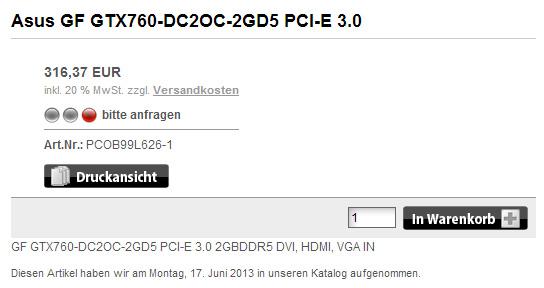Asus GeForce GTX 760 DirectCU II OC в предложении онлайнового магазина PCO