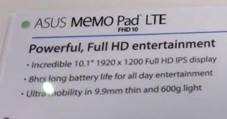 Asus MeMO Pad FHD 10 LTE, спецификации