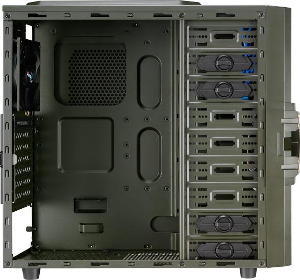 Корпус AeroCool Strike-X One Army Edition относится к категории mid tower и рассчитан на платы типоразмера ATX