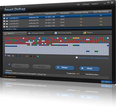 Скриншот главного окна SmartDefrag