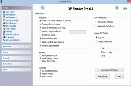 Скриншот главного окна XP Smoker