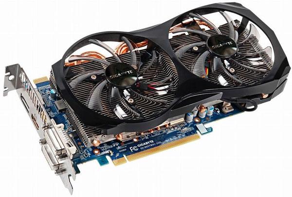 Конструкция охладителя 3D-карт Gigabyte GeForce GTX 650 Ti Boost включает четыре тепловые трубки