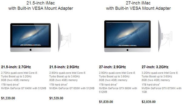 В каталоге Apple появились ПК iMac со встроенными креплениями VESA