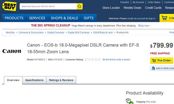Миниатюрная зеркальная камера Canon EOS-b в комплекте с объективом EF-S 18-55mm оценена в $800