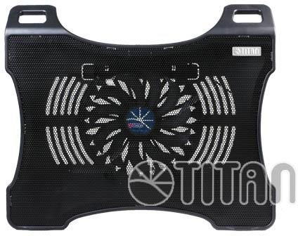 В охлаждающей подставке для ноутбуков Titan TTC-G27T установлен вентилятор типоразмера 200 мм