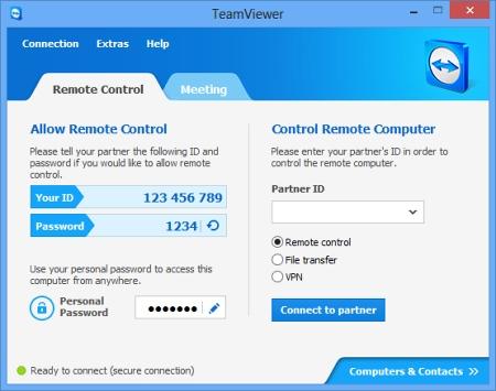 Скриншот окна программы TeamViewer
