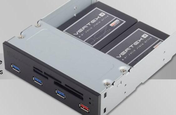 Панель для отсека 5,25 дюйма SilverStone FP56 включает разъемы USB 3.0, слоты для карт памяти и место для двух накопителей