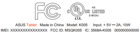 Asus K005, маркировка