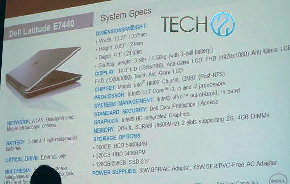 Dell Latitude E7440, спецификаци