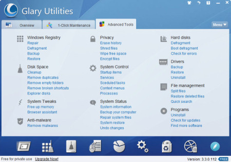 Интерфейс главного окна Glary Utilities