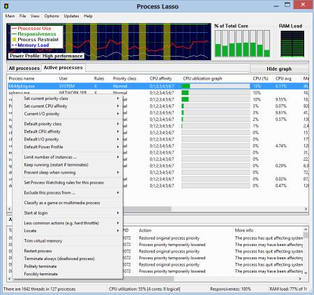 Интерфейс программы Process Lasso