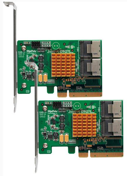Представлен адаптер HighPoint RocketRAID 2720C2 с восемью портами SAS/SATA 6 Гбит/с, оснащенный интерфейсом PCI Express x8