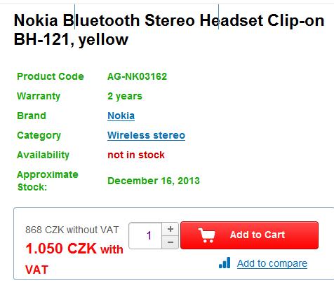 Устройство Nokia Guru BH-121 оказалось беспроводной стереогарнитурой