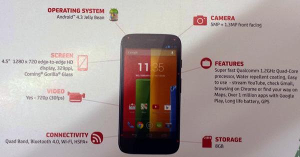 Motorola Moto G, рекламная листовка