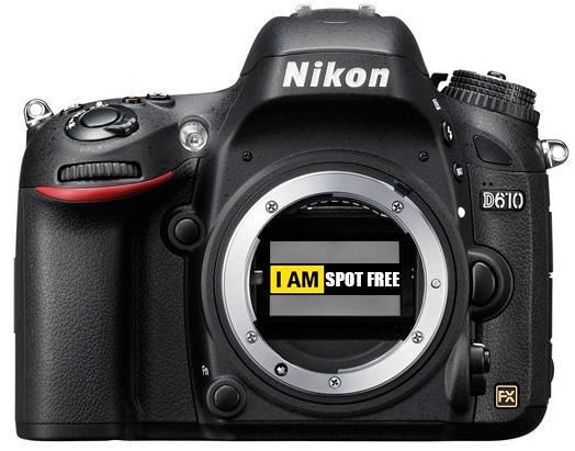 Затвор и механизм подъема зеркала Nikon D610 не загрязняют датчик камеры в процессе работы.