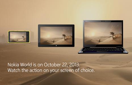 Компания Nokia 22 октября на мероприятии Nokia World 2013 может представить три типа устройств