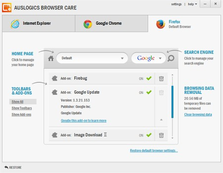 Auslogic Browser Care