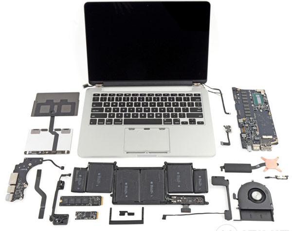 Возможности ремонта и модернизации 13-дюймового ноутбука Apple MacBook Pro существенно ограничены