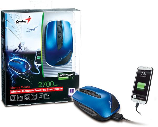 Емкость встроенной в Genius Energy Mouse литиево-полимерной батареи равна 2700 мА∙ч