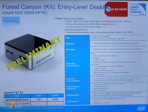 Intel NUC Celeron N2810