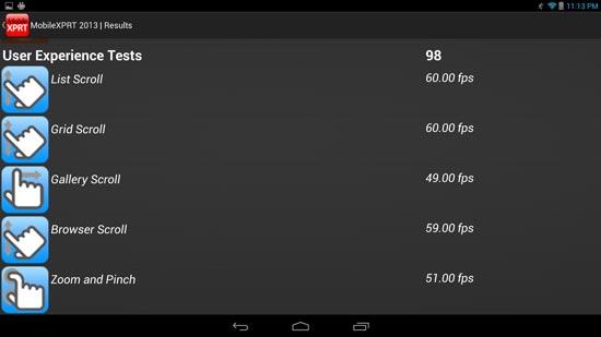 Результаты тестов планшета на платформе Bay Trail под управлением Android
