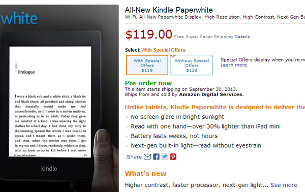 �������� ����������� ����������� ����� Amazon Kindle Paperwhite �������� 30 ��������