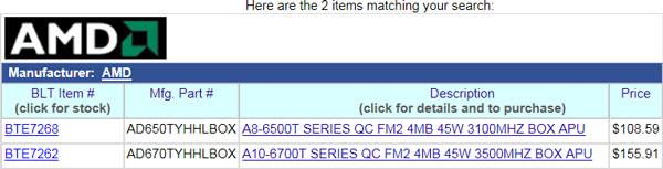 Цена A8-6500T - $108,59, A10-6700T - $155,91