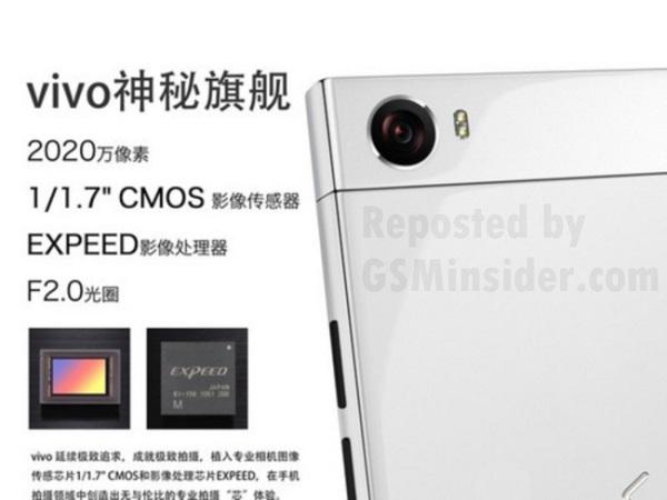 Новый смартфон компании Vivo получит вращающуюся камеру разрешением 20,2 Мп