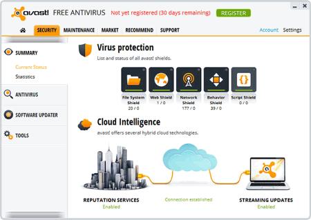 Интерфейс Avast!