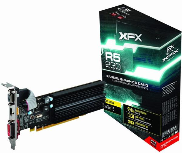 GPU 3D-карт XFX Radeon R5 230 работают на частоте 625 МГц