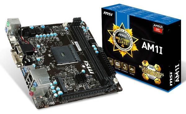 Плата MSI AM1I рассчитана на установку одного или двух модулей памяти DDR3-1333 или DDR3-1600