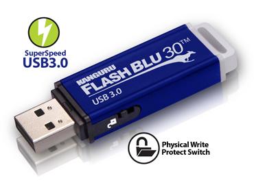 Флэш-накопитель Kanguru FlashBlu30 предложен в четырех вариантах объема: 8, 16, 32 и 64 ГБ