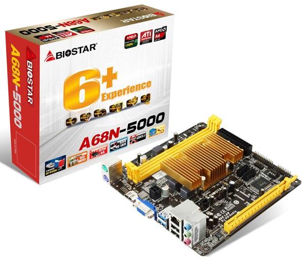 Гибридный процессор, установленный на плате Biostar A68N-5000, имеет пассивное охлаждение