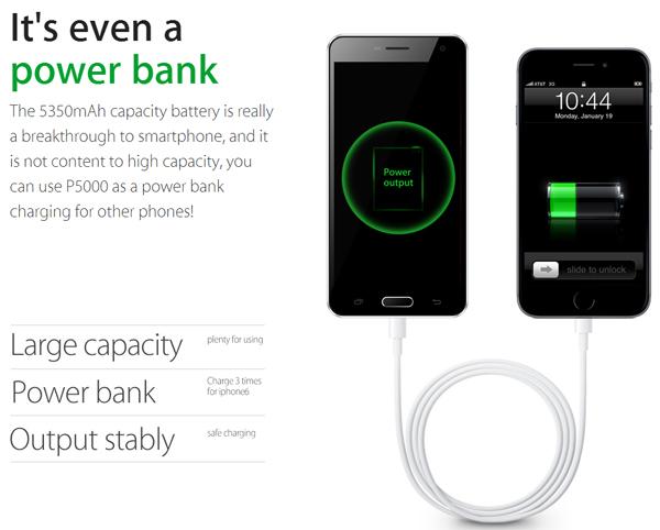 Elephone P5000 может выполнять роль мобильной зарядки для других устройств