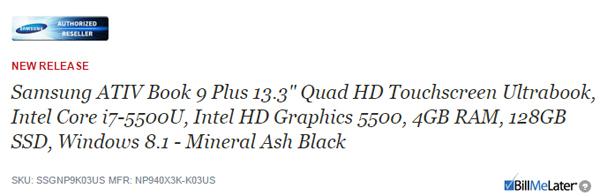 Samsung Ativ Book 9 Plus � CPU Broadwell ������� � �������� ��������-��������