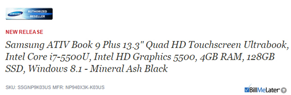 Samsung Ativ Book 9 Plus с CPU Broadwell замечен в каталоге интернет-магазина