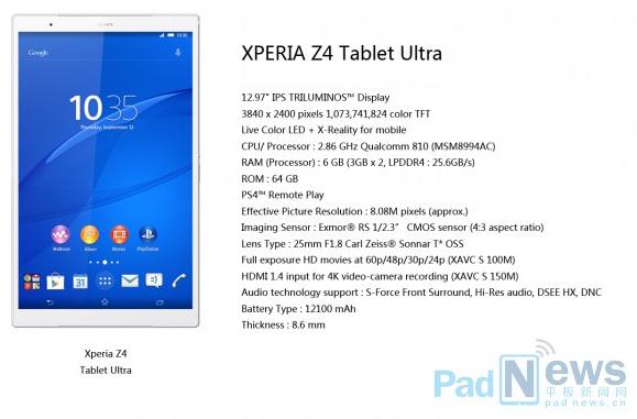 Sony Xperia Z4 Tablet Ultra: возможный дизайн и характеристики