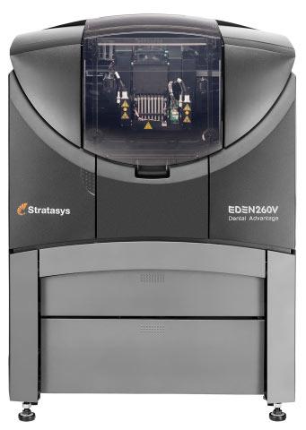 С помощью 3D-принтера Stratasys Objet Eden260V можно создавать трехмерные модели зубов и челюстей