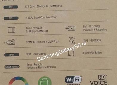 Фото коробки смартфона Samsung Galaxy S5