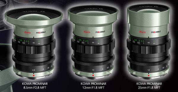 ��������� ���������� Kowa Prominar 8.5mm F2.8 MFT, Prominar 12mm F1.8 MFT � Prominar 25mm F1.8 MFT �� ����� ��������� ���� �����