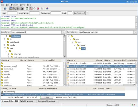 Скриншот рабочего интерфейса FileZilla