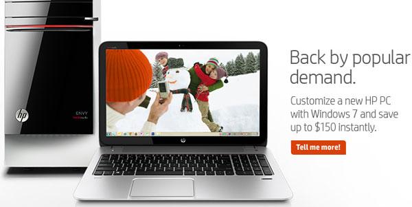 HP продвигает компьютеры с предустановленной ОС Windows 7