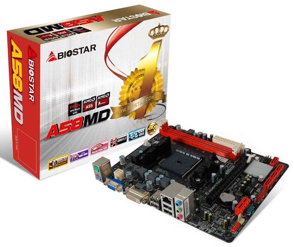 Оснащение Biostar A58MD включает четыре порта SATA 3 Гбит/с